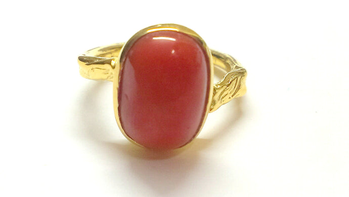 RED CORAL 14k GOLD RING ,Sacreal Chakra Gemstone, Statement Ring, second chakra SVADISTHANA
