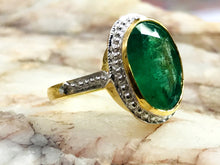 Load image into Gallery viewer, 3.95 Ct EMERALD OVAL YELLOW Gold Ring  ,Solid 18k gold ,May Birthstone,Emerald Engagement Ring,Statement Ring,Emerald Cut, Green Gemstone ..