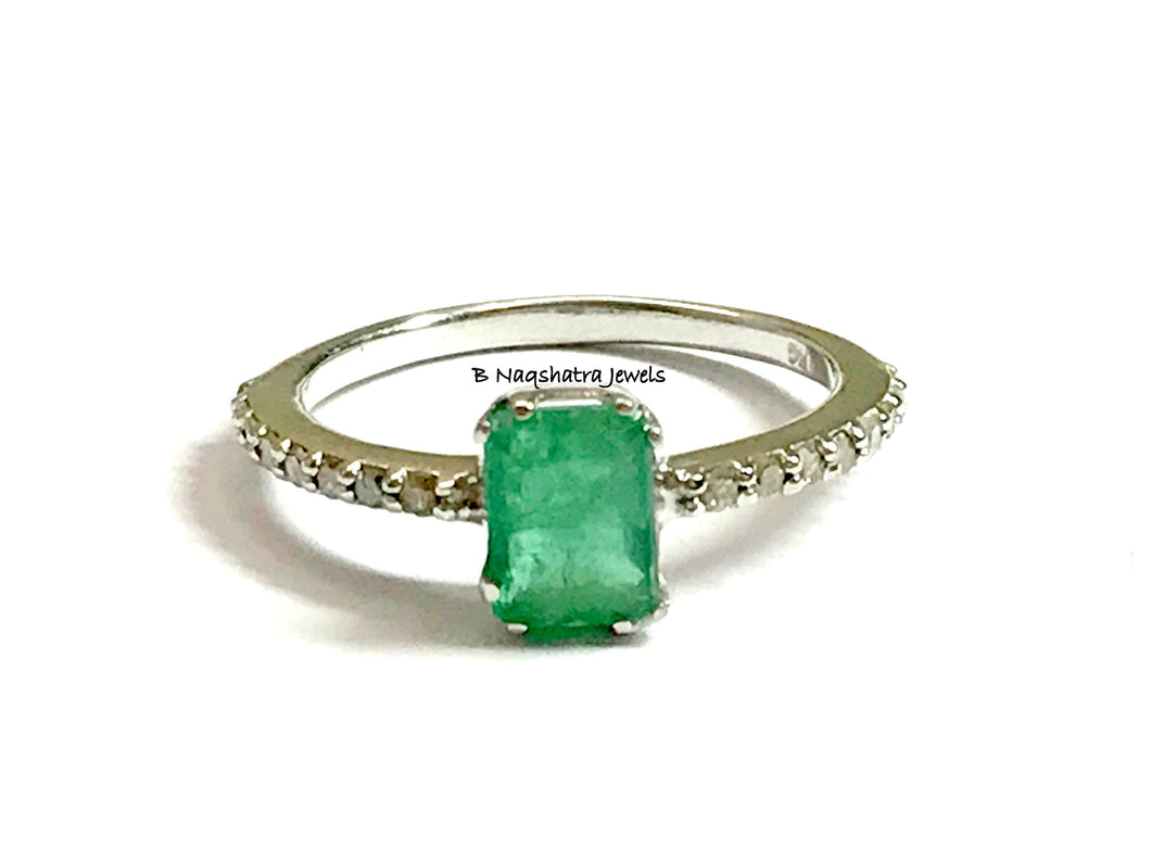 DAINTY EMERALD DIAMONDS Engagement Ring ,May birthstone ,Emerald Cut Octagon ,925 Silver emerald ring ,Emerald Jewelry ,Gift For Girlfriend