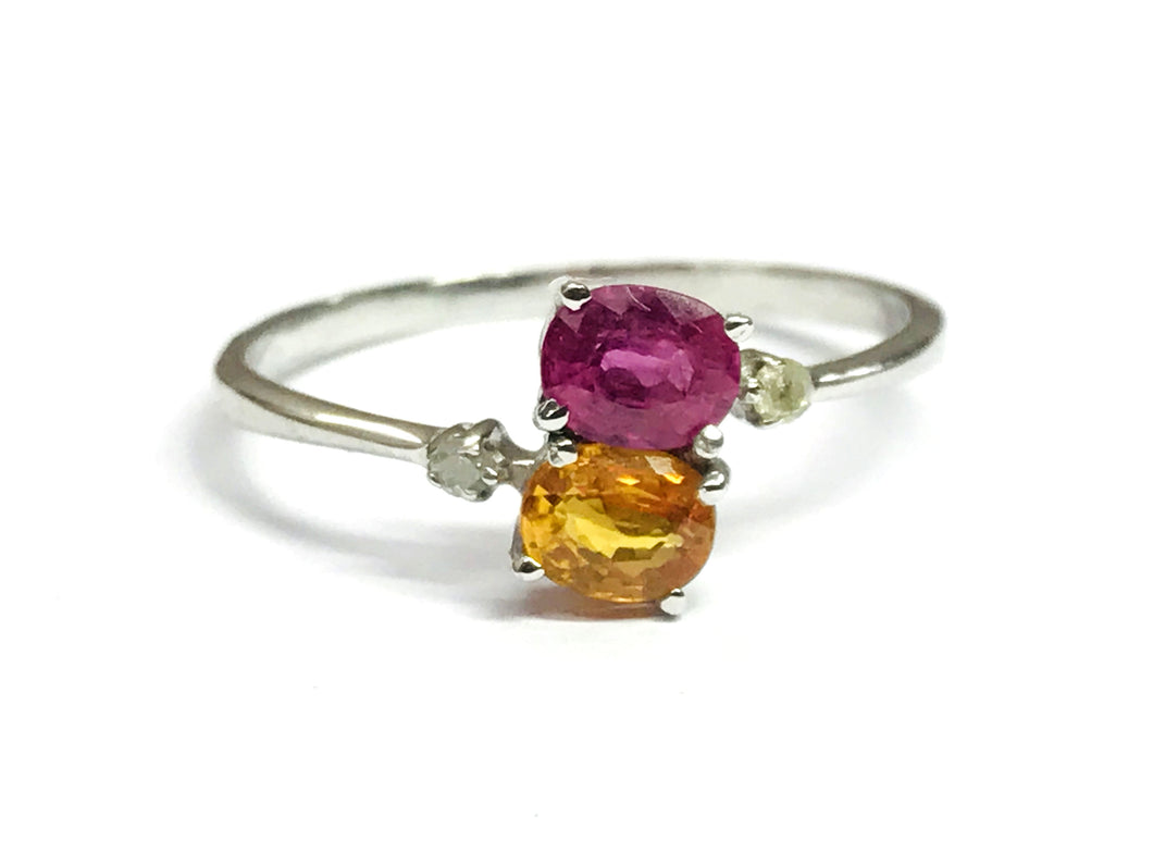 YELLOW SAPPHIRE RUBY Diamond Stylish & Unique Engagement Ring,Stacking Ring ,Promise Ring