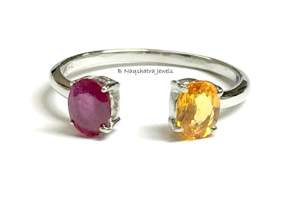 RUBY YELLOW SAPPHIRE Dainty Silver Ring , Red Ruby ,sapphires , Tiny gemstones , Best Gift For loved Ones .............
