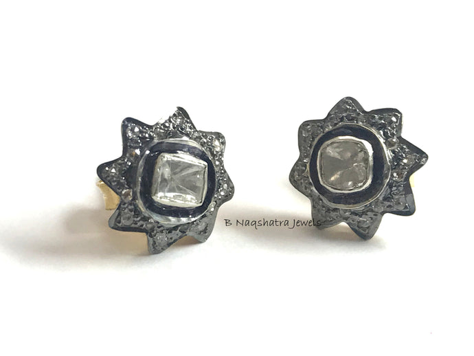 STAR DIAMONDS Cluster STUD Earrings ,925 Sterling Silver,Women Jewelry, Vintage Style ,Antique Finish , Mothers Day Gift , Diamonds Halo ,