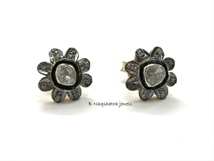 FLORAL DIAMONDS CLUSTER Stud Earrings ,925 Sterling Silver,Women Jewelry, Vintage Style ,Antique Finish , Mothers Day Gift ,Flower shape ,