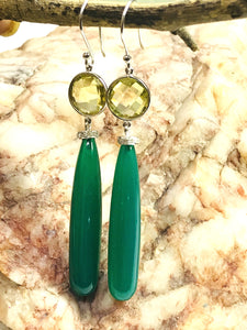 GREEN ONYX DROP Earrings, Green Gold Briollete -Small Diamonds, Dangle Earrings,Pencil Drop Onyx , Green gemstone , Perfect Gift For Her ...