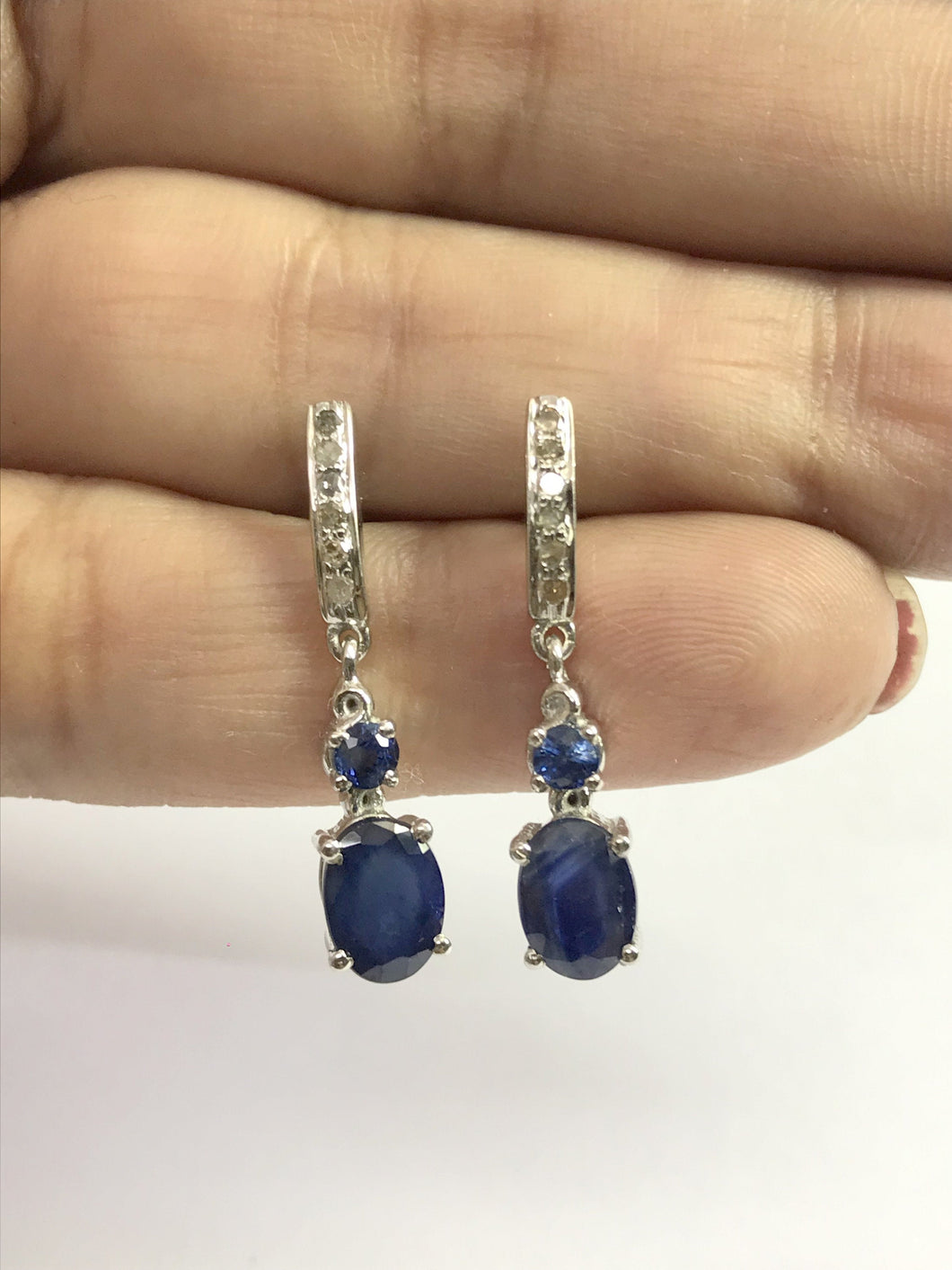 BLUE SAPPHIRE DROP Earrings, 925 Sterling silver,Dangle Earrings ,September Birthstone , Beautiful Gift for your loved ones, Wedding Gift ..