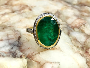 3.95 Ct EMERALD OVAL YELLOW Gold Ring  ,Solid 18k gold ,May Birthstone,Emerald Engagement Ring,Statement Ring,Emerald Cut, Green Gemstone ..