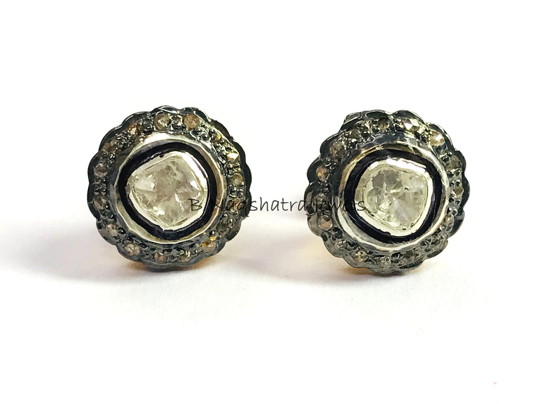DIAMONDS POLKI STUD Earrings ,925 Sterling Silver,Women Jewelry, Vintage Style ,Antique Finish , Mothers Day Gift , Diamonds Halo , Cluster
