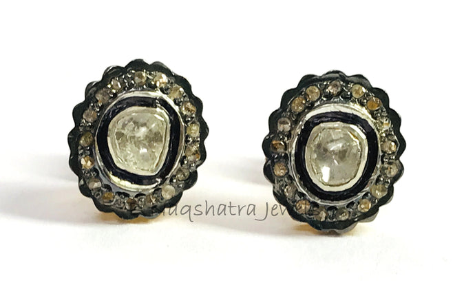 Fine Art , ROSE CUT DIAMONDS stud Earrings ,Handmade ,Polki Diamonds,Antique look , Valentine gift