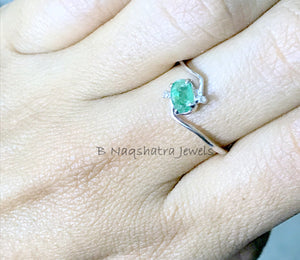 EMERALD ENGAGEMENT RING - May Birthstone - Gemstone Band - Statement Ring - Unique Gift for Her , Green Beryl Women Jewelry..