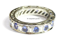 Load image into Gallery viewer, TANZANITE ETERNITY RING, Engagement wedding band ,925 Sterling Silver ,Round Shape Tanzanite, Best Love Gift For Her,Unisex Jewelry ...