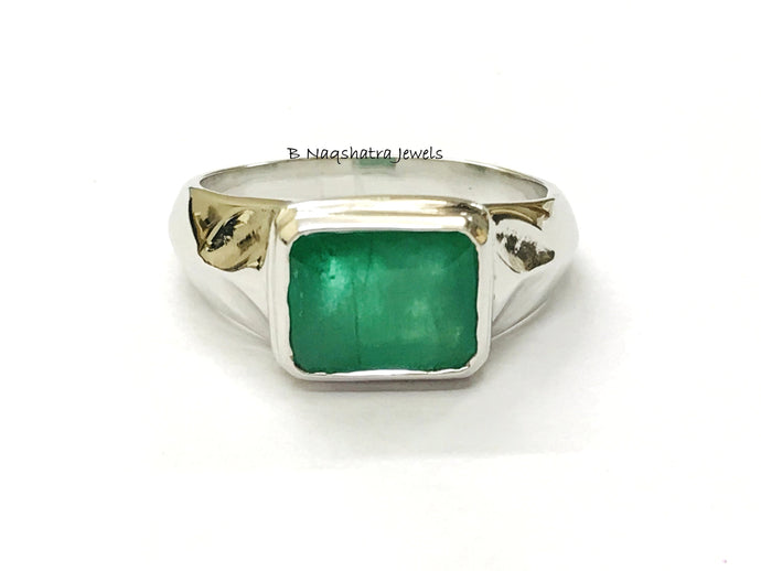 EMERALD MEN'S RING 925 Sterling Silver,May birthstone,Fathers day Gift,Emerald Cut Gemstone