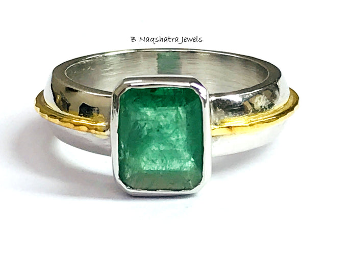 EMERALD MEN RING 925 Sterling Silver,May birthstone,Men Engagement Ring