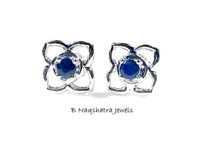 NATURAL SAPPHIRE STUD Earrings, flower sapphire earrings , Blue sapphire earrings, blue birthstone , September birthday gifts ,