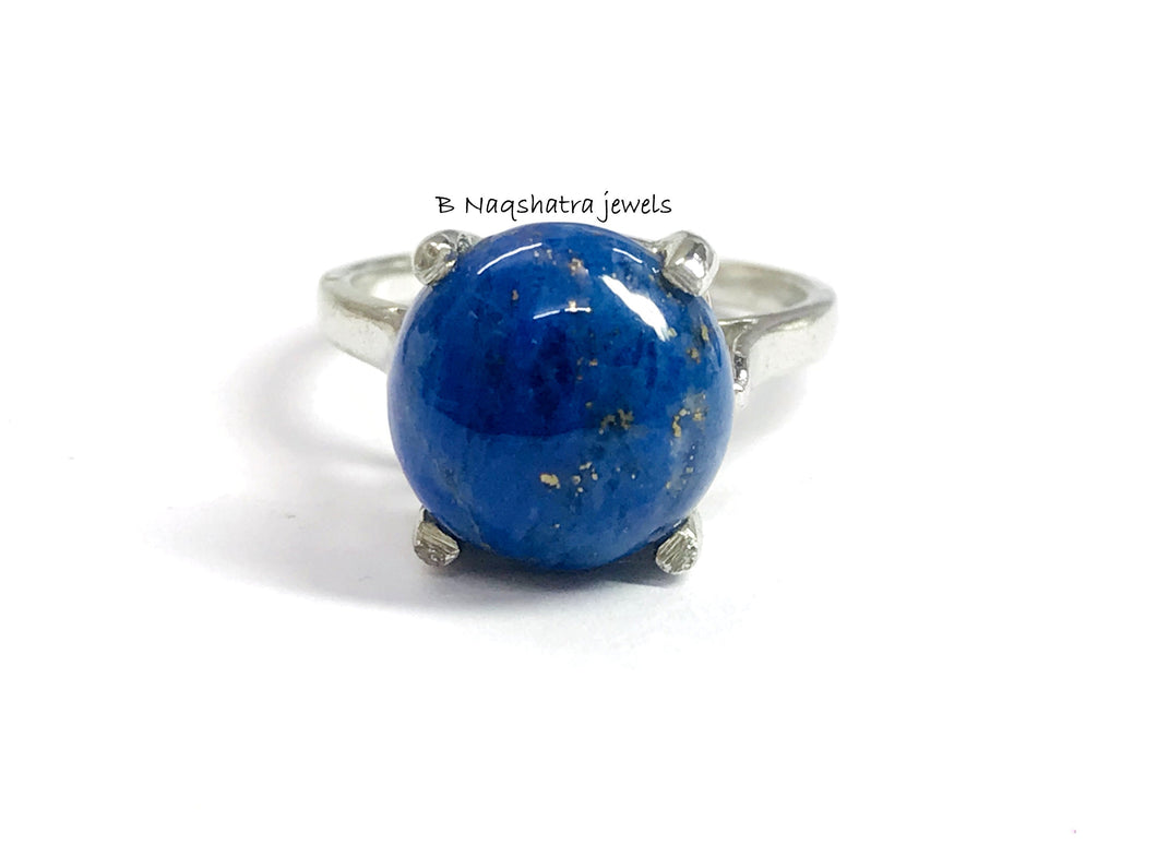 LAPIS LAZULI CABOCHON silver ring ,8 mm round ,Sterling Silver, Yeats, Azurite , Pyrite , Aoki lapis ,Blue Color ring,