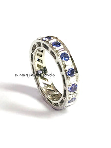 TANZANITE ETERNITY RING, Engagement wedding band ,925 Sterling Silver ,Round Shape Tanzanite, Best Love Gift For Her,Unisex Jewelry ...