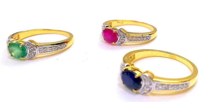 EMERALD RUBY SAPPHIRE Diamond Rings , 14k Gold Rings ,Valentine gift for her , Promise ring ...