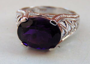 AAA super fine quality 100% natural silver ring of african amethyst for bridal wear wedding gift...amethyst rings........february birthstone