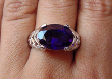 Load image into Gallery viewer, AAA super fine quality 100% natural silver ring of african amethyst for bridal wear wedding gift...amethyst rings........february birthstone