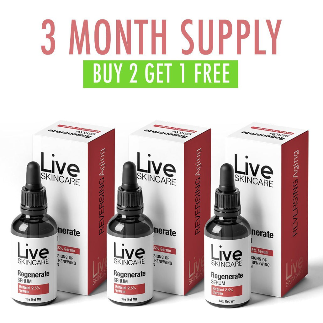 3 Month Supply - Regenerate Retinol Serum - Live Skincare