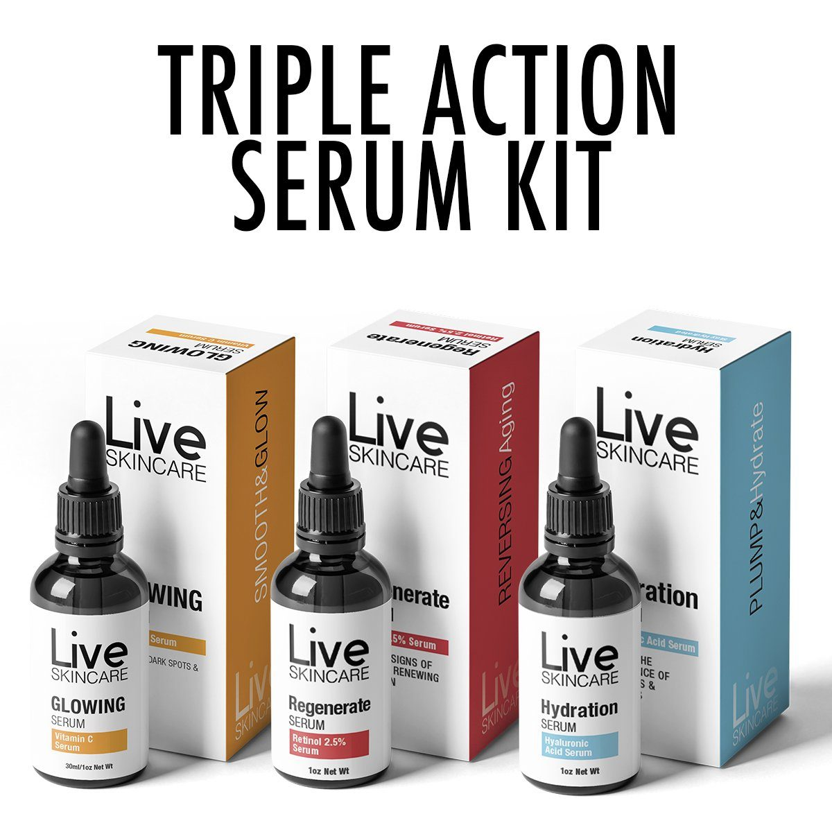 Triple Action Serum Kit (Removes Wrinkles & Actively Fights Ageing)