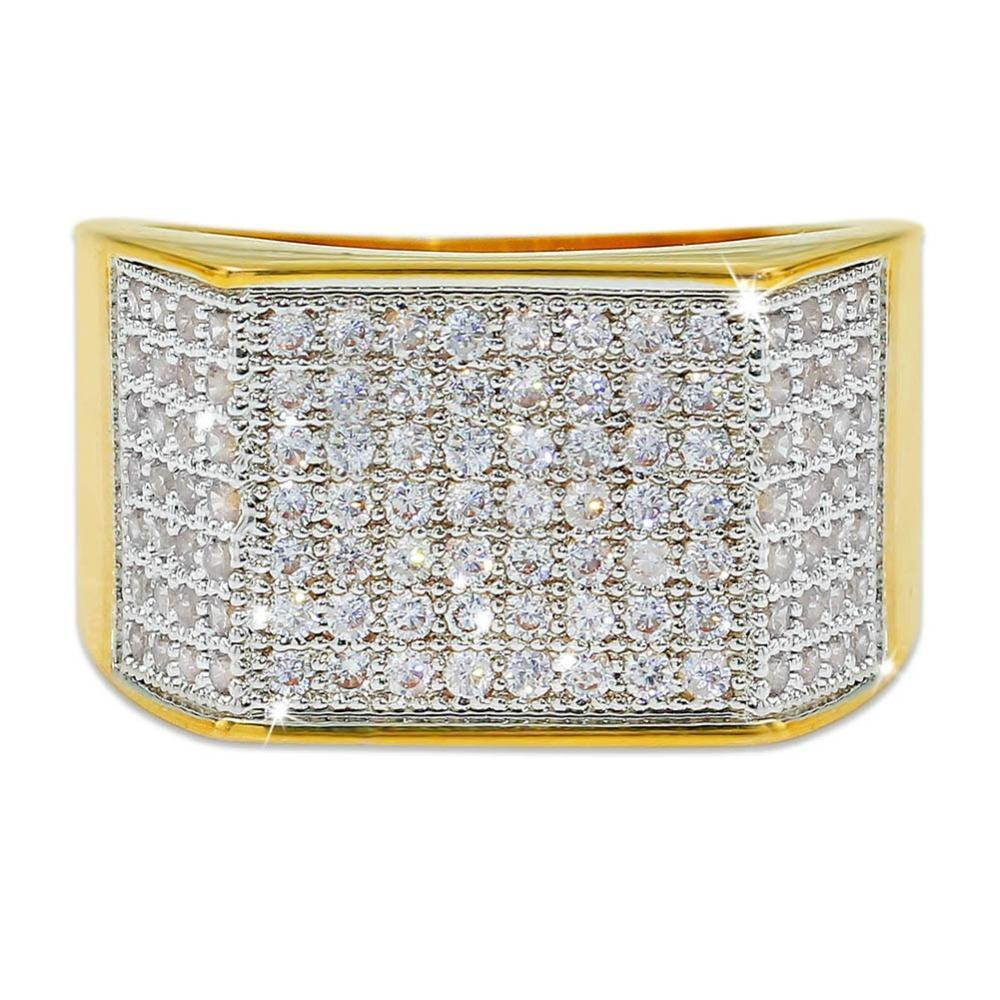 10k Gold 7 Row Pave Ring Twenty 7 Links Rings