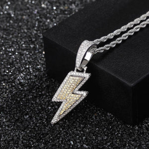 10K White Gold Flash Lightning Bolt Chain Twenty 7 Links Pendants