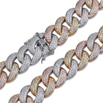 14K Flooded Miami Cuban Link Chain Tricolour Twenty 7 Links Chains
