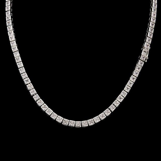 14K White Gold 1 Row CZ Tennis Chain Twenty 7 Links Chains