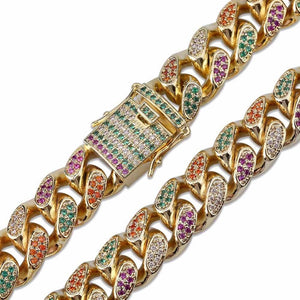 14mm Tricolor Gold Cuban Link Twenty 7 Links Chains