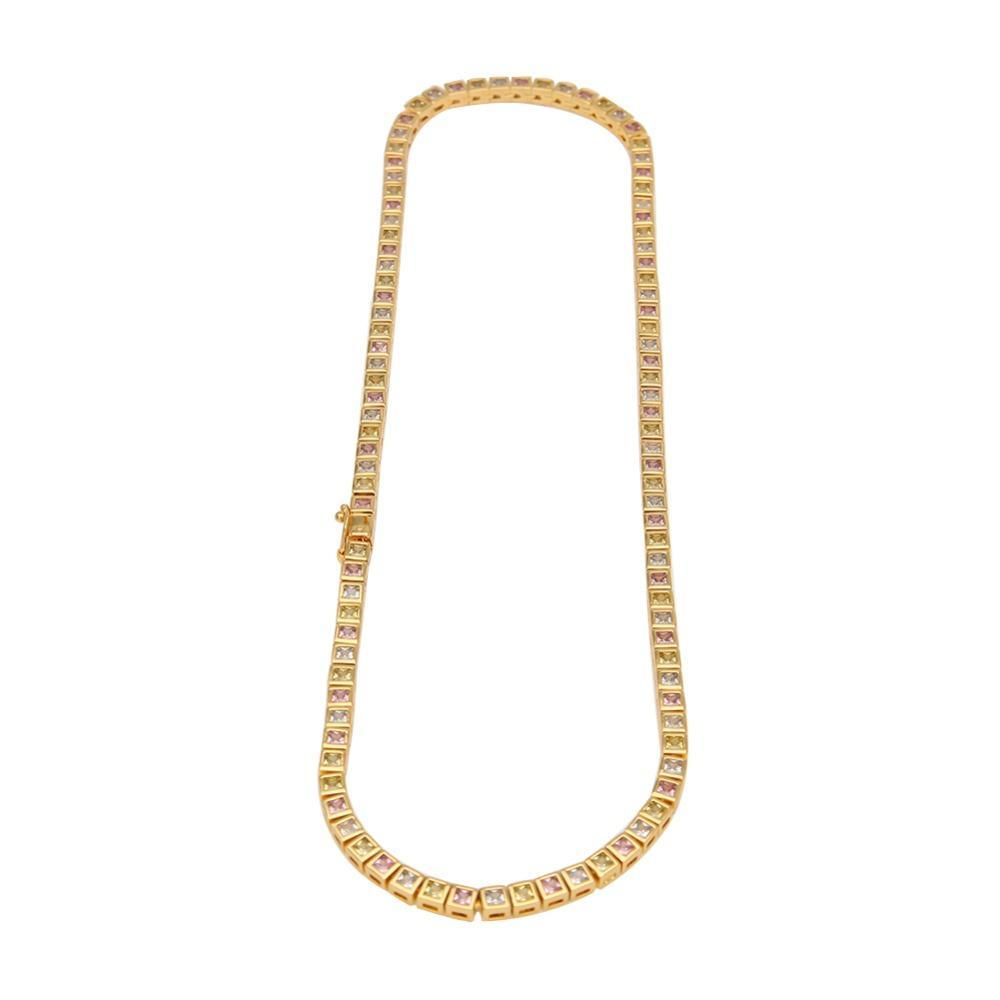 18k Gold 1 Row CZ Tennis Chain Multi Stones Twenty 7 Links Chains