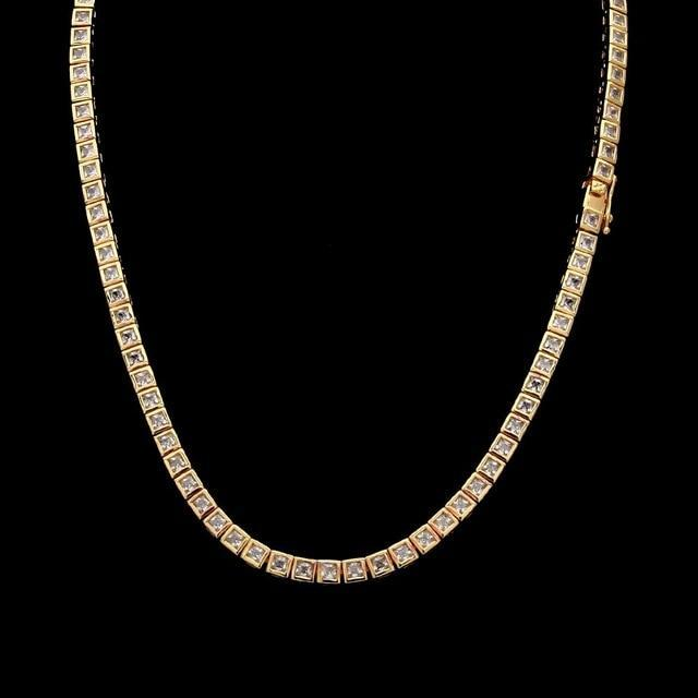 18k Yellow Gold 1 Row CZ Tennis Chain Twenty 7 Links Chains