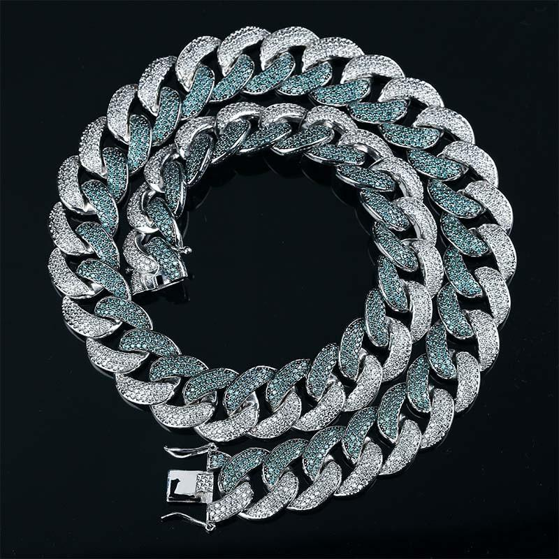 18MM Two-Tone Mint Blue Miami Cuban Link Twenty 7 Links Chains