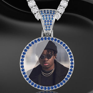 Blue Crystal Picture Pendant Twenty 7 Links