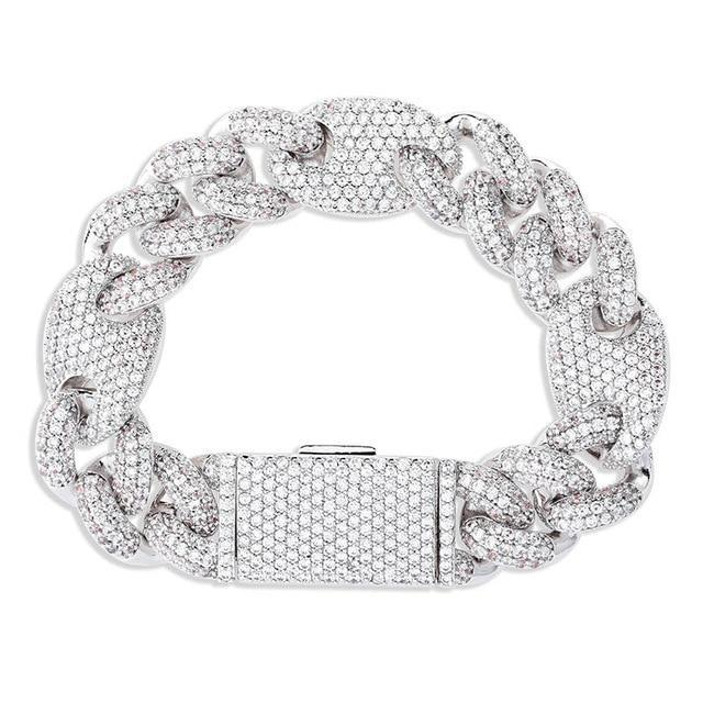 Diamond Cuban Gucci Link Bracelet White Gold Twenty 7 Links Bracelets