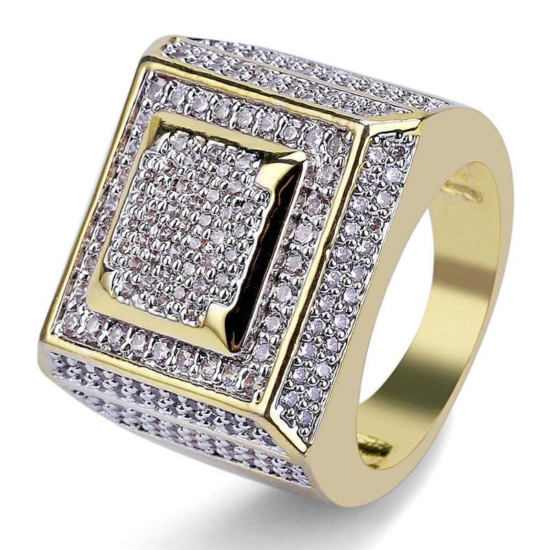 Gold Plated Iced Out Square Ring Twenty 7 Links Rings