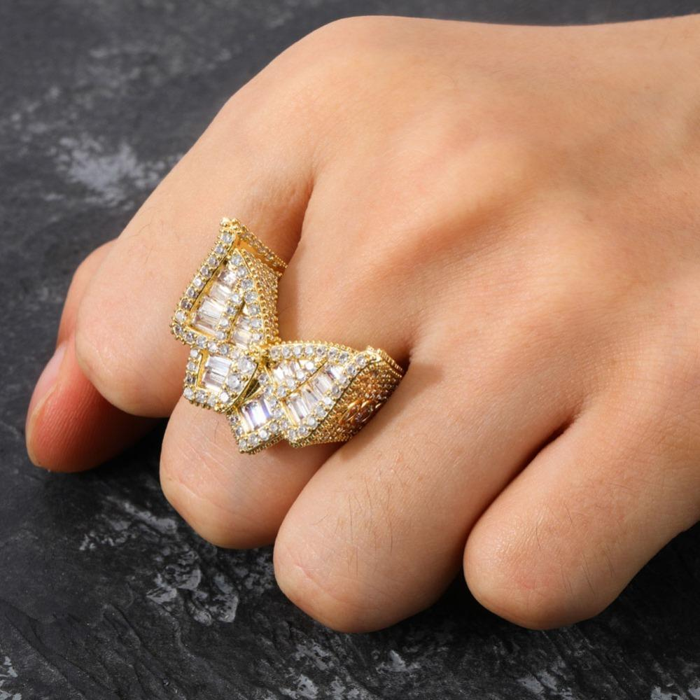 Iced Butterfly Ring Gold Twenty 7 Links Rings