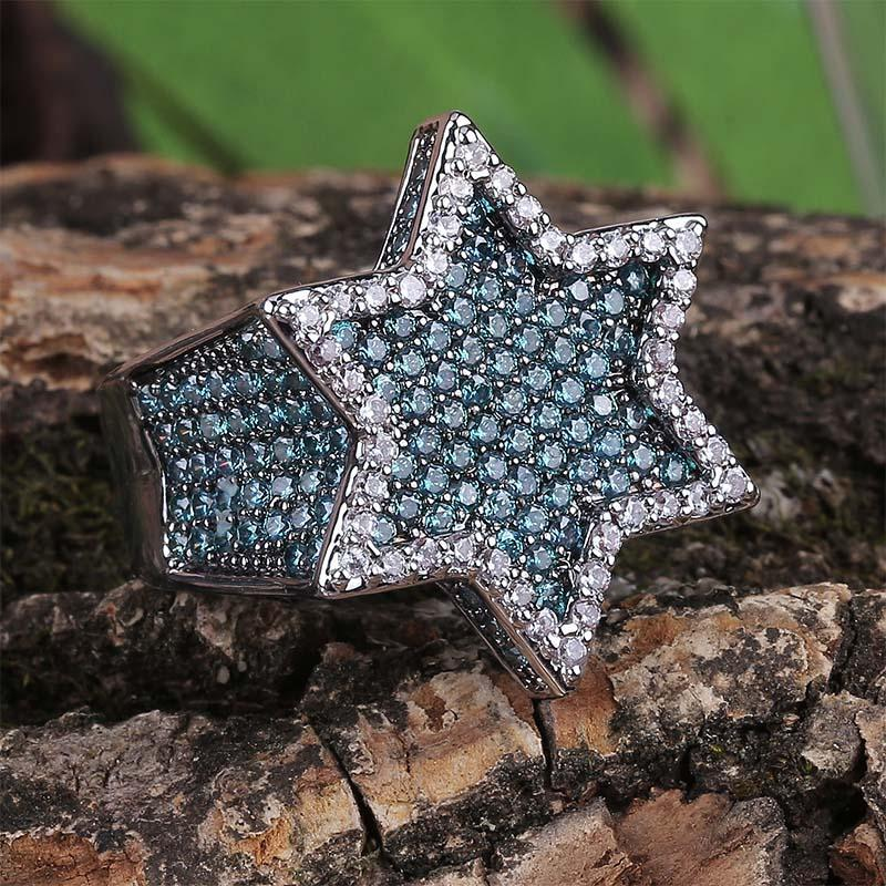 Mint Blue Star Ring Twenty 7 Links Rings
