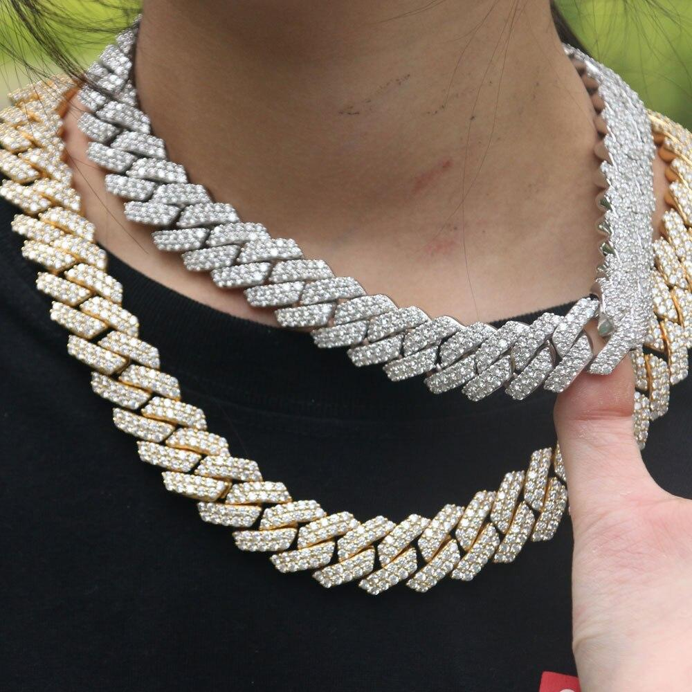 White Gold Miami Cuban Link Choker Chain Twenty 7 Links Chains