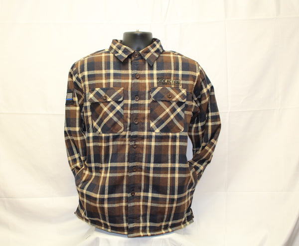 Brown Blue #704 Flannel with Fleece Lining