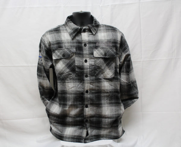 Gray Black Flannel with Fleece Lining #703