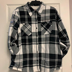 Ladies Flannel White/Black Sherpa Lining