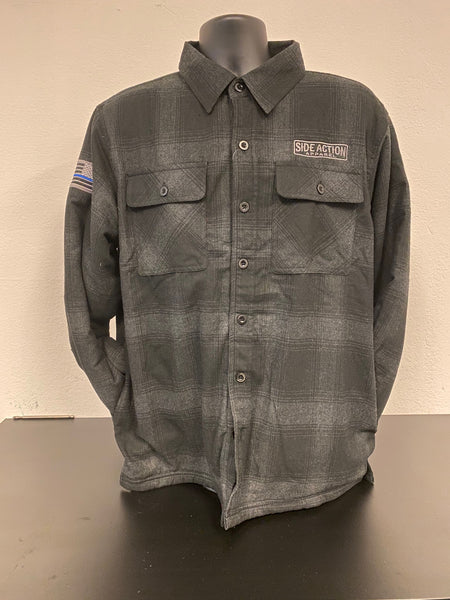 Black Gray Flannel with Fleece Lining #702
