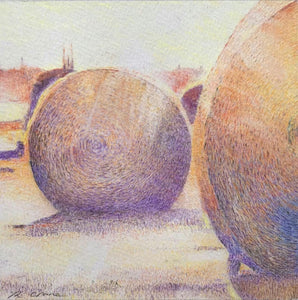 Limited Edition Print. Hay Bales at Sunset, Margate, Tasmania