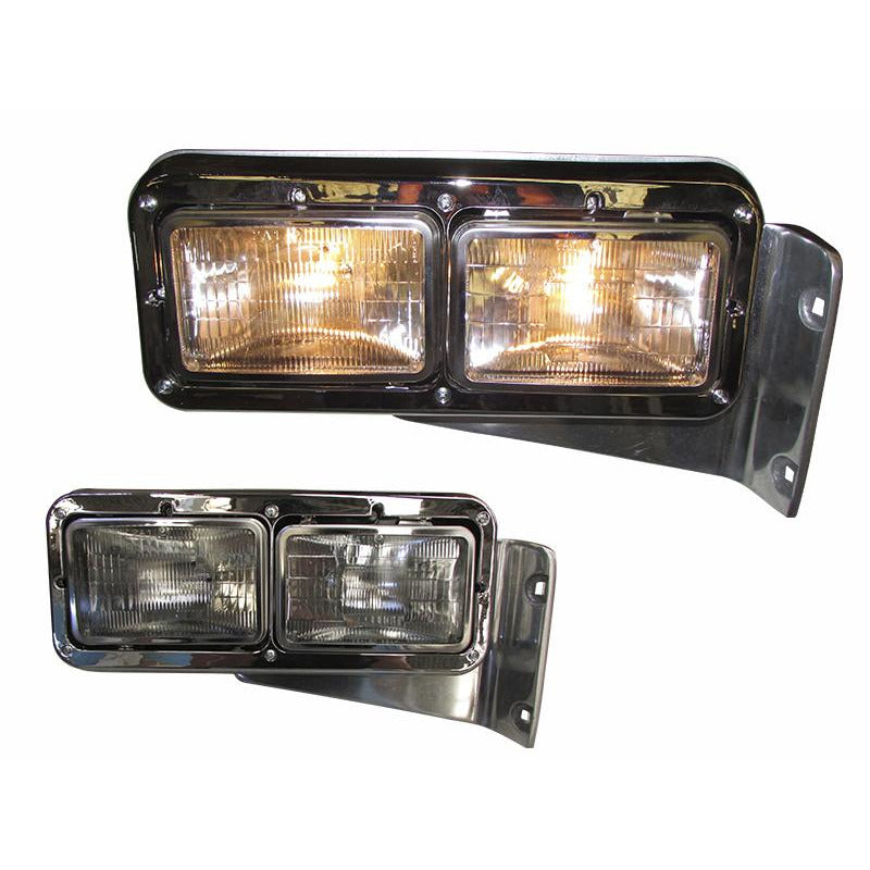 Universal - Peterbilt Stainless Headlamp With Classic Bezel And 4 Amber LED Signal