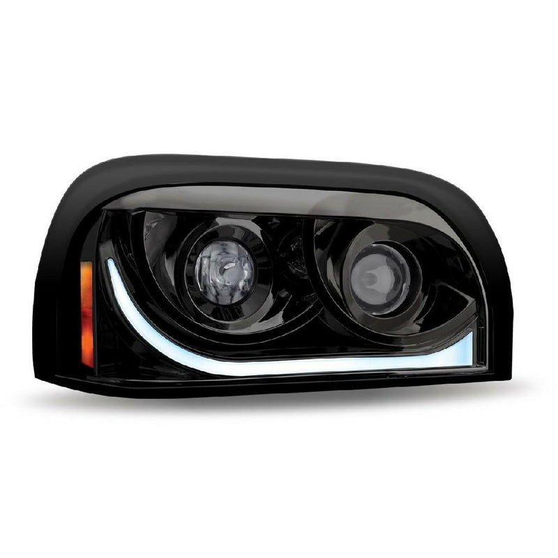 Freightliner 1996-2010 Century Halogen Projector Headlight Assembly With LED Strip - Black (Passenger Side) - High-Low Beam - Daytime Running - Amber Turn Signal