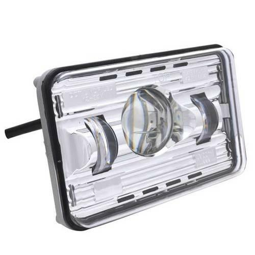 Universal  Chrome 6X4 Rectangle Dual Headlamp Bezel With Visor & 14 Amber LED Light Bar - Clear Lens - Off-Road Only