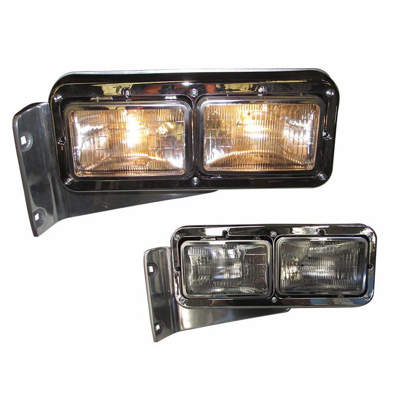 Universal - Peterbilt Stainless Headlamp Rebel Style With 10 Amber LED Accent Lights