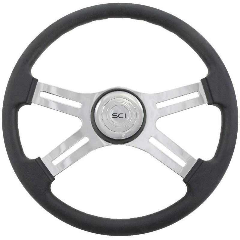"Universal Stainless 18"" Steering Wheel 4 Spoke - Hub & Horn Sold SeparaTELy"