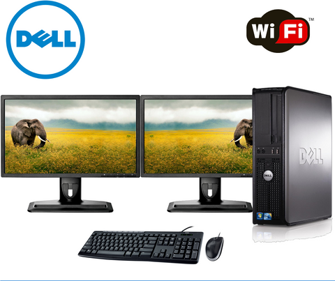 Image of Dell Optiplex Desktop PC Tower - Factory Refurbished- 1 TB with Dual 22 inch Monitors - Includes 2 year warranty