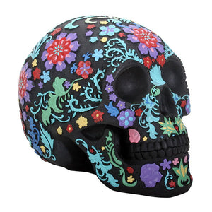 Coloured Floral Skull - Black